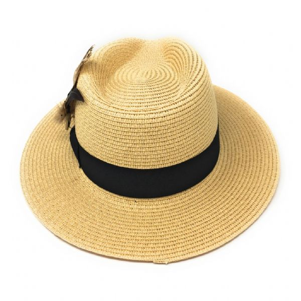 Ladies Panama Style Summer Hat with Removable Feather Brooch - Natural - Dovecote